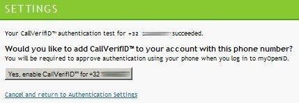CallVerifID Settings
