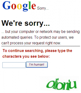 Google Sorry Page