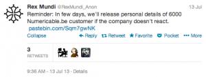 Rex Mundi Tweet