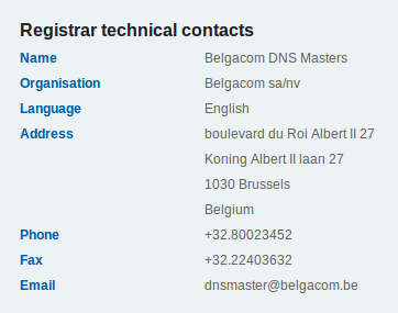DNS Technical Contacts