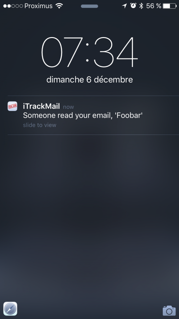 iTrackMail Push Notification