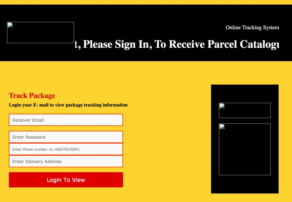 DHL Phishing Page